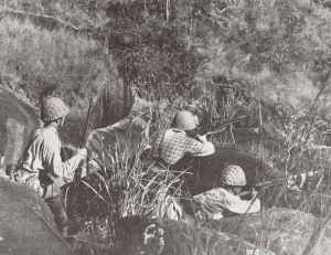 Japanese infantry are pictured in action in south China