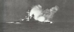 Bismarck is firing on Hood