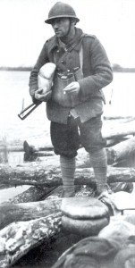 French soldier with Sten gun winter 1944-45