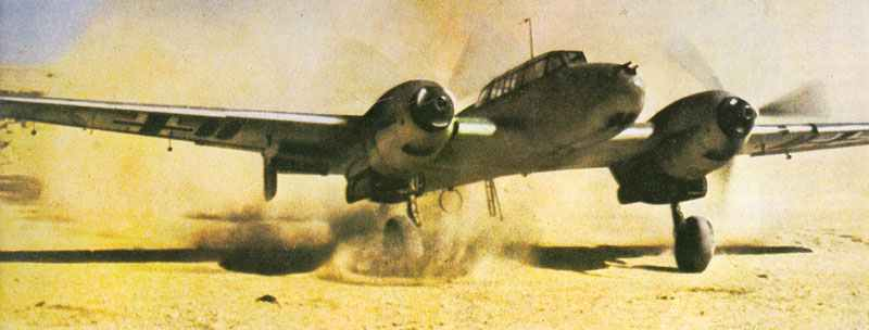 Me 110 C-4 of ZG76 creates its own sandstorm