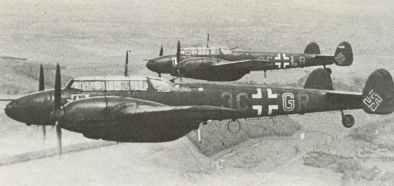 Me 110 Fs in all-black night fighter finish