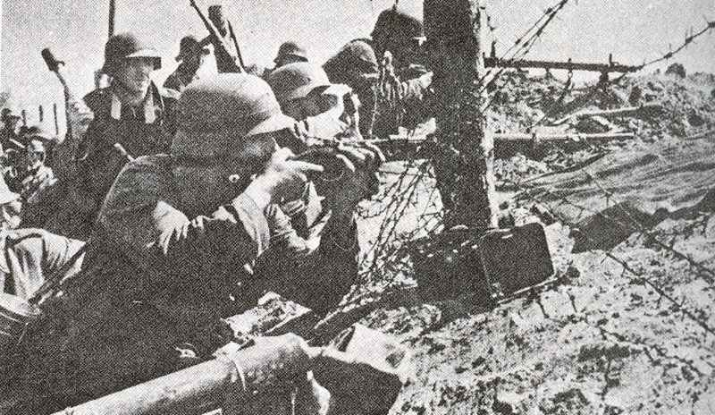 German infantry, armed with 98K rifles as well as grenade throwers