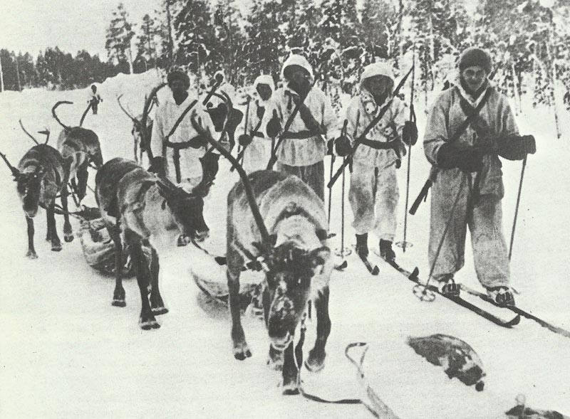Finnish soldiers with reindeers