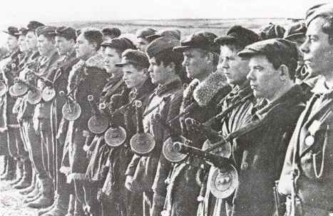Russian partisans armed with PPSh sub-machine guns.