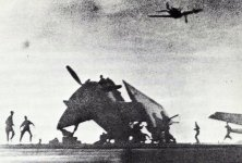 Kamikaze pilot is crashing into the US escort carrier