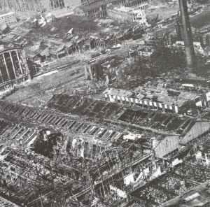 destroyed Krupp armaments works in Essen