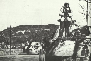 Column of King Tiger tanks