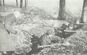 Volkssturm men admitted into a ditch