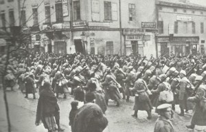 Russians march through town