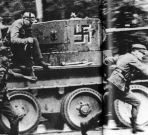 Finnish troops with captured Russian BT-5 tank