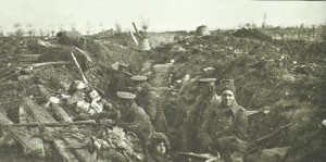 British troops man a fairly basic frontline trench