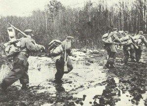 Advancing German troops