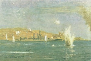 Battleship 'Queen Elizabeth' bombarded Turkish forts