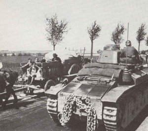 column of French Renault R-35 tank
