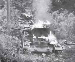 Matilda II tanks of the BEF are burning