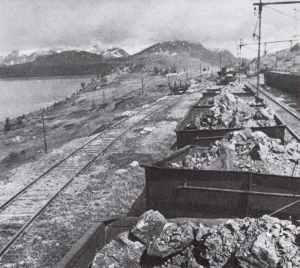 iron-ore railway at the Rombaks Fjord near Narvik