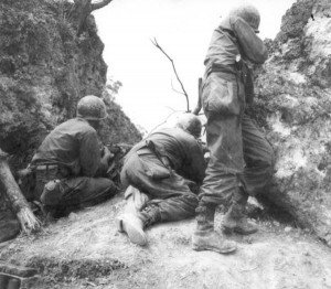 US infantry fire on attacking Japanese