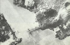 destroyed railway bridge in Burma