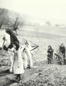 Women and children  plowing