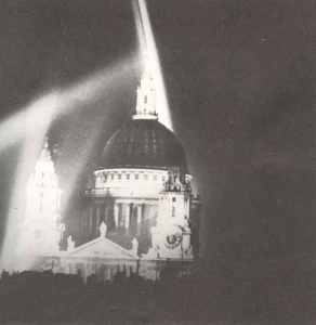 St Paul's Cathedral in the City of London, lit by searchlights