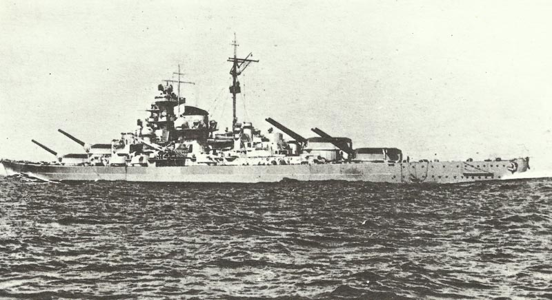 Tirpitz with her guns elevated to port