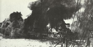 battle-cruiser Seydlitz on fire during the Battle of Jutland