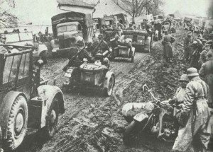 German advance on the muddy roads of Yugoslavia.