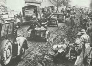 German advance on the muddy roads of Yugoslavia.