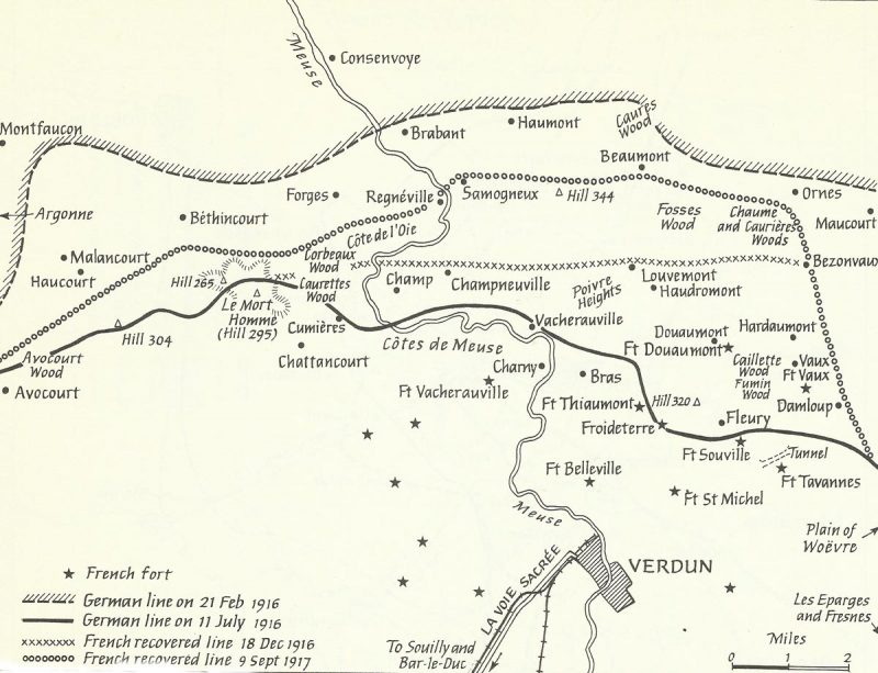 map of Battle of Verdun