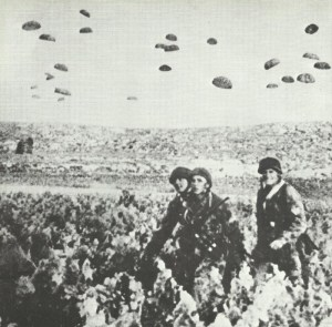 German paratroopers are landing on Crete