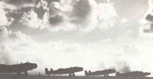 Handley Page Halifax bombers before the start.