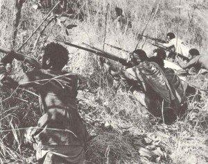 Ethiopian guerillias are shooting on an Italian fort.