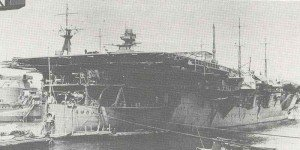 Construction of a Japanese aircraft carrier.