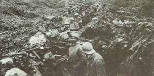 French soldiers in a captured German trench