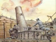 French 370-mm heavy mortar rains high explosives