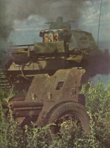 German tank has knocked-out and rolled over a Russian AT gun
