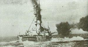 'Nassau' class Pre-Dreadnought fires a salvo