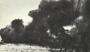 German battlecruiser 'Seydlitz' on fire