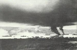 Burning British ships after a German air raid in Souda Bay