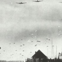 Paratroopers drop from Ju 52s