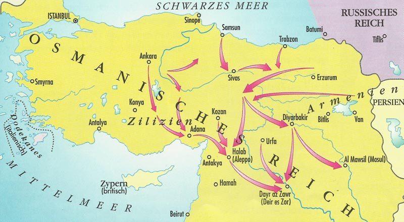 map deportation of Armenians