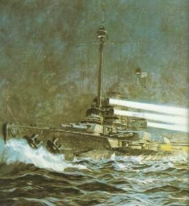 German battleship 'Thueringen' in night combat