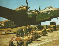 Stirling bomber loaded with bombs