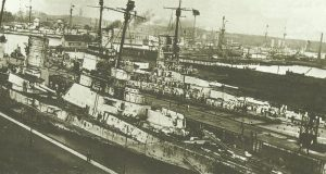Damage inflicted on the German battlecruiser 'Seydlitz