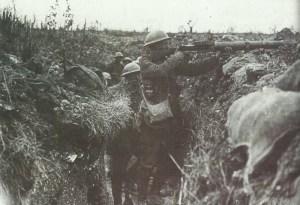British machine-gunner firinig his Lewis Gun