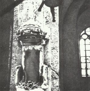 burned Nikolai Church in Riga