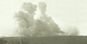 mine explodes underneath the German trenches