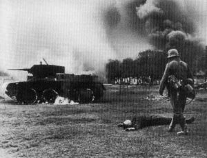 knocked out and burning Russian BT tank