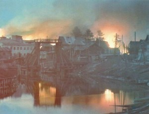 Russian town in flames