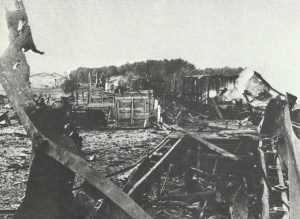 destroyed Russian supply train